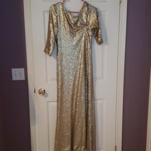 Christina Wu gold glitter bridesmaid dress